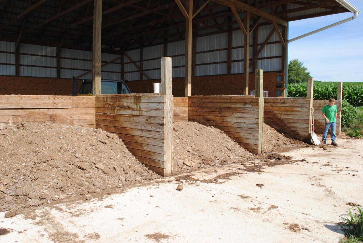 Bins for composting poultry mortality.