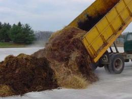 Building a windrow to compost dairy manure and bedding at OSU Wooster Campus.